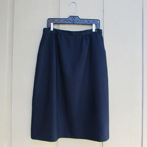 Vintage Navy Blue Skirt W/ Side Button and Pocket!